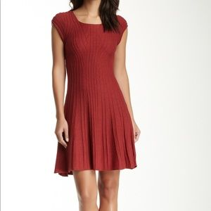 Max Studio Knit Sweater Dress in Red